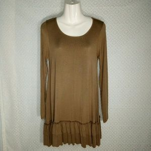 Easel Taupe Knit Teired Ruffle Hem Dress